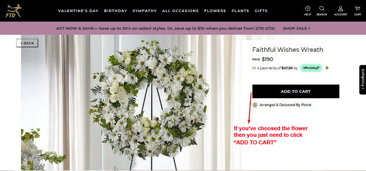 Faitful wishes wreath from FTD