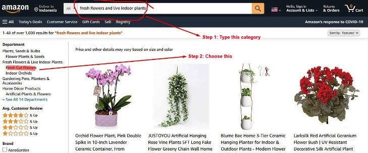 Search flower at Amazon